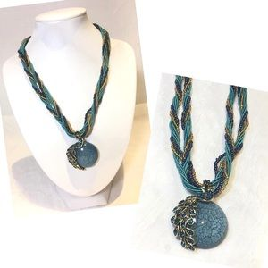 Braided Rope Peacock Round Stone Pendant Necklace